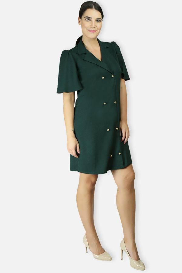 BOTTLE GREEN TRENCH DRESS6