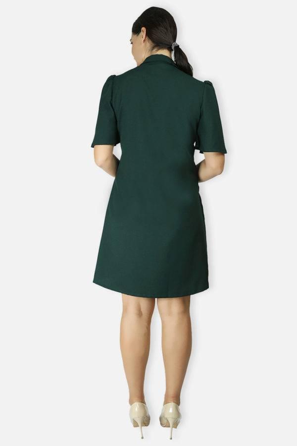 BOTTLE GREEN TRENCH DRESS7