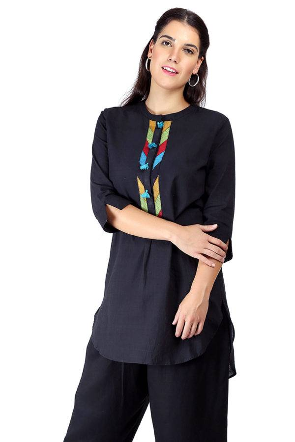 Black Handloom Cotton Short Kurti4
