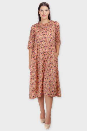 Peach Long Flared Dress-3