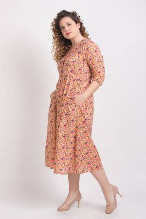 Peach Long Flared Dress4