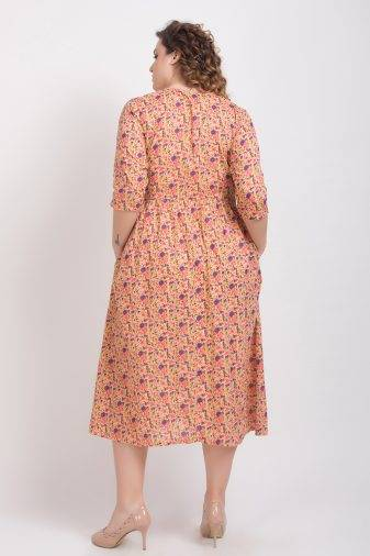 Peach Long Flared Dress5