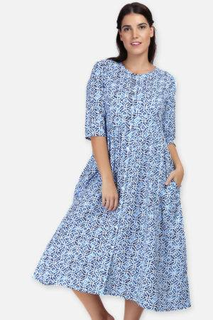 Mixed Print Long Flared Dress1