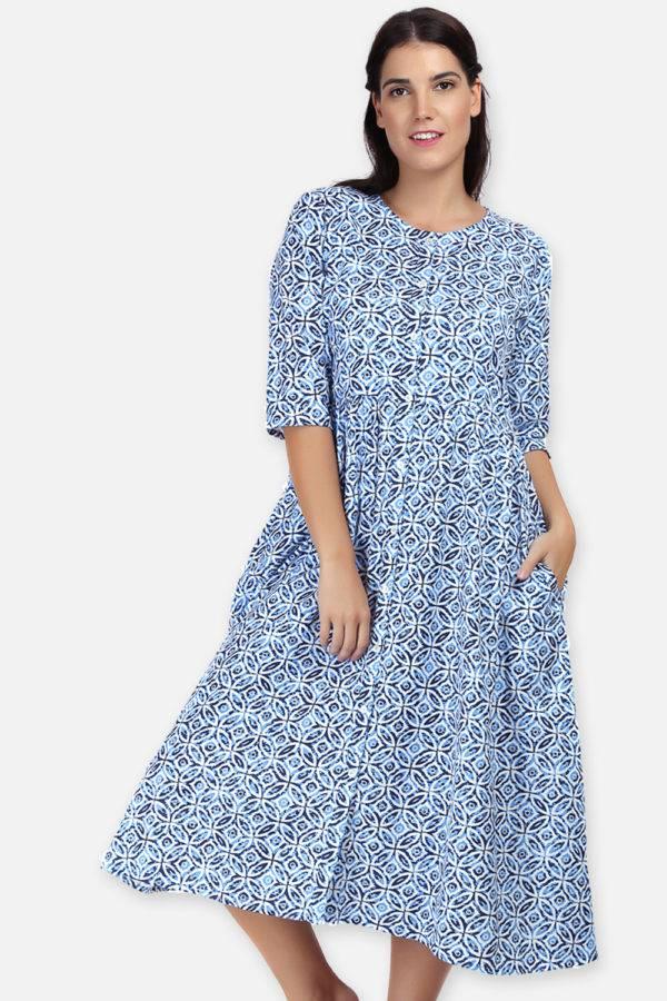 Mixed Print Long Flared Dress1