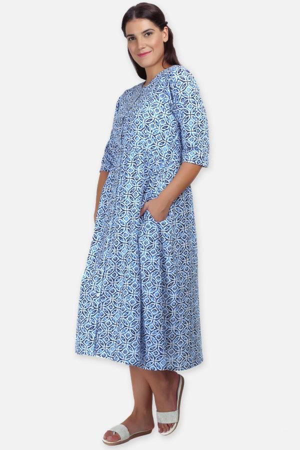 Mixed Print Long Flared Dress10