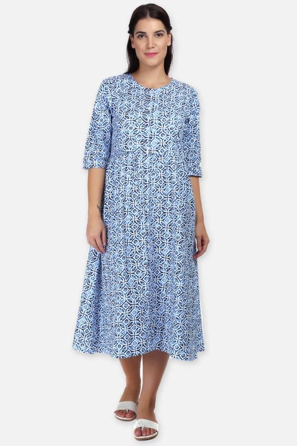 Mixed Print Long Flared Dress2