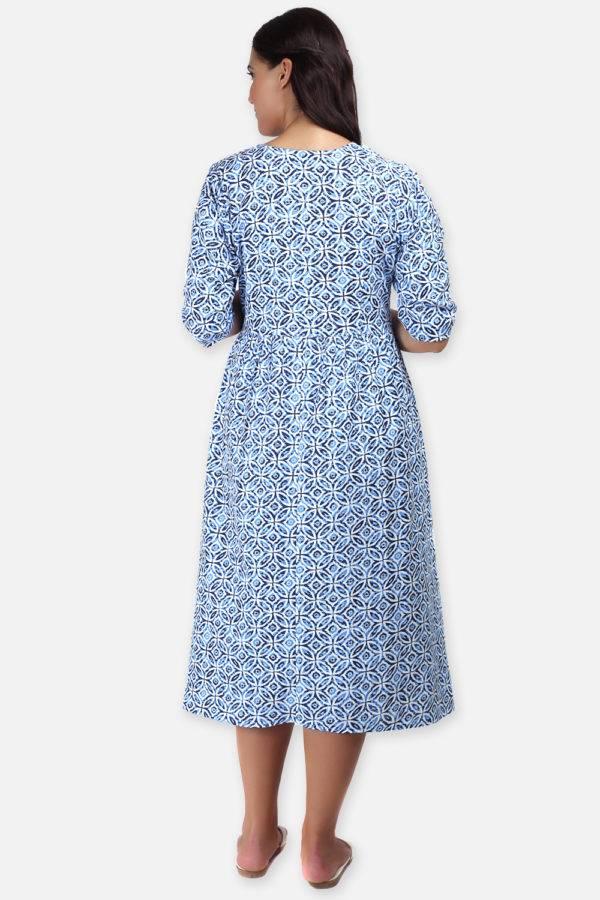 Mixed Print Long Flared Dress4