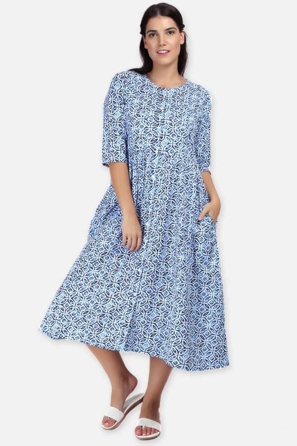 Mixed Print Long Flared Dress6