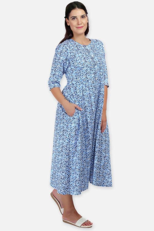 Mixed Print Long Flared Dress9
