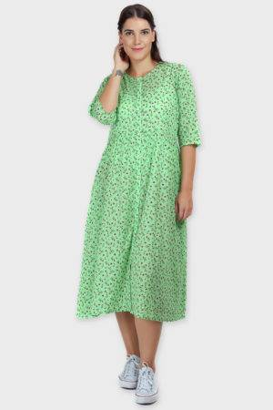 Green Long Flared Dress3