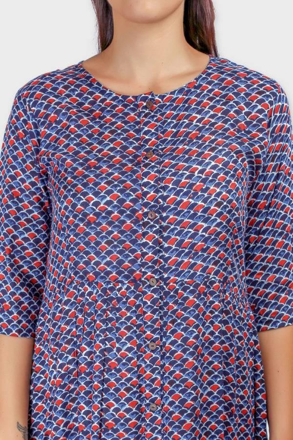 Blue Printed Shirt Dress-2