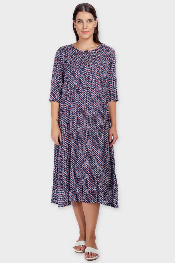 Blue Printed Shirt Dress-4