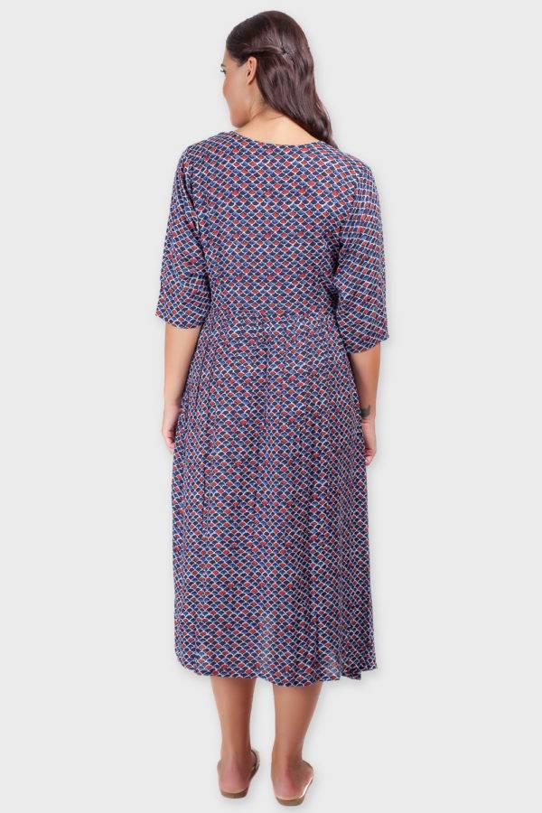 Blue Printed Shirt Dress-5