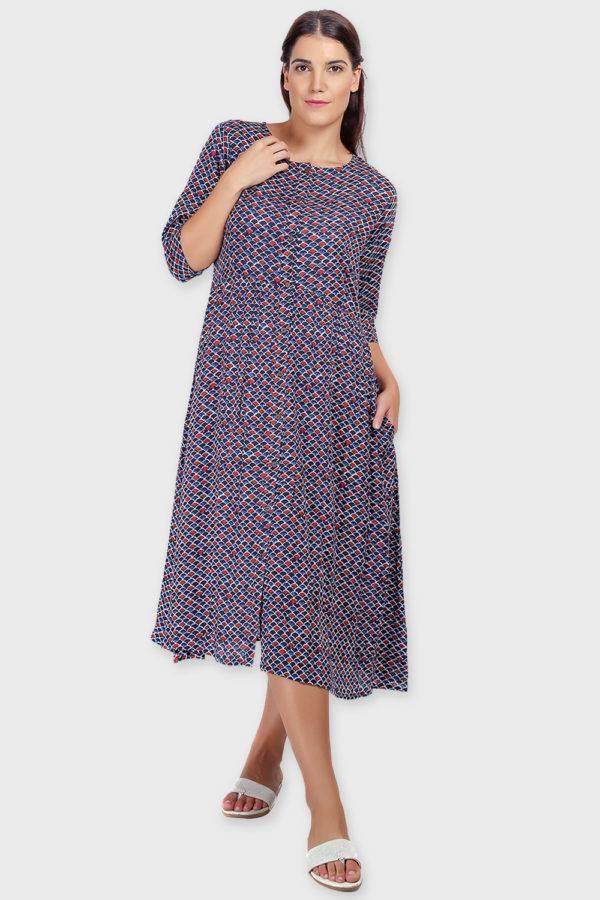 Blue Printed Shirt Dress-7
