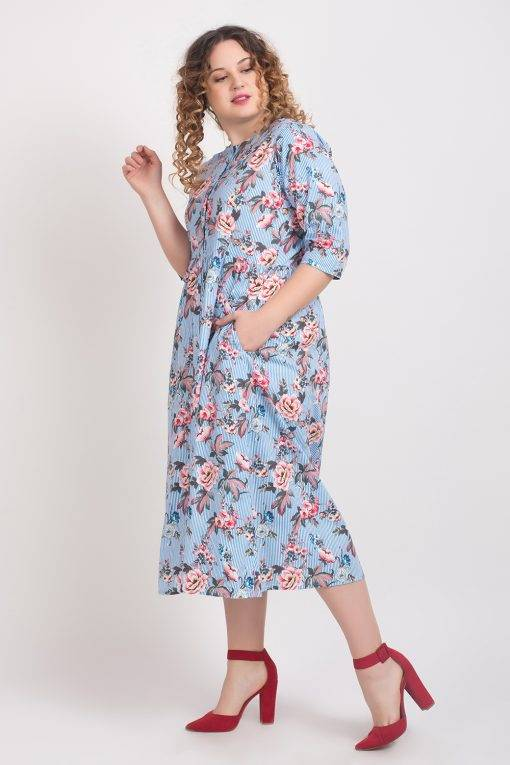 Mixed Print Long Shirt Dress3