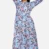 Mixed Print Long Flared Dress5