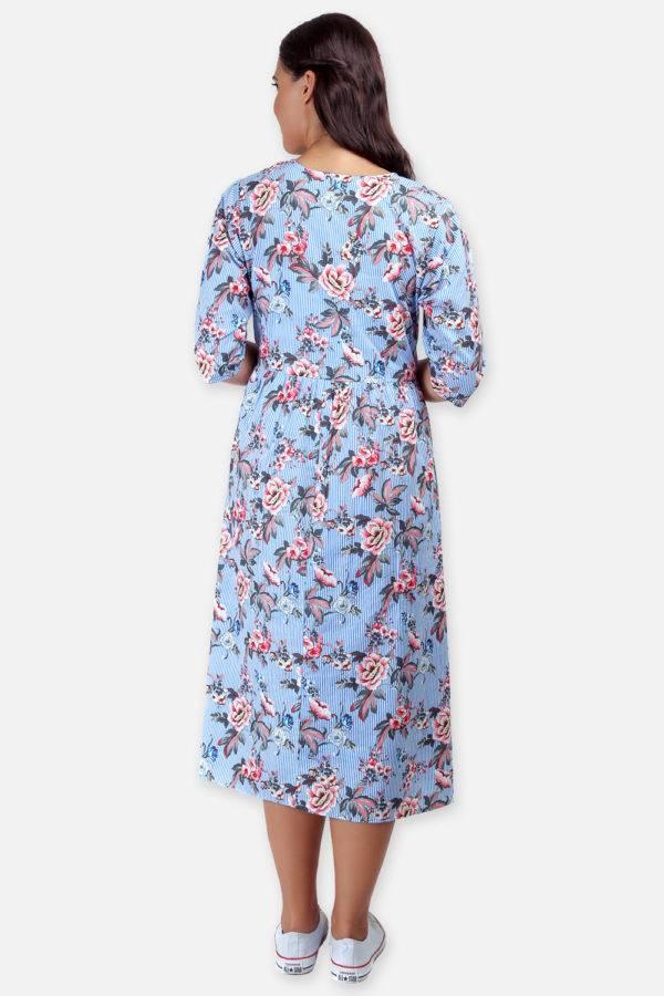Mixed Print Long Flared Dress7