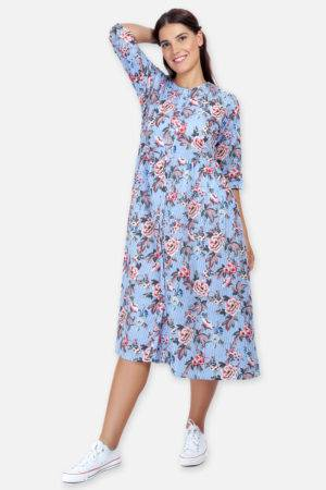 Mixed Print Long Flared Dress8