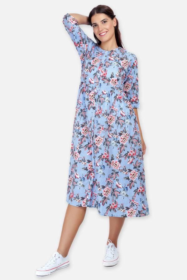 Mixed Print Long Flared Dress8