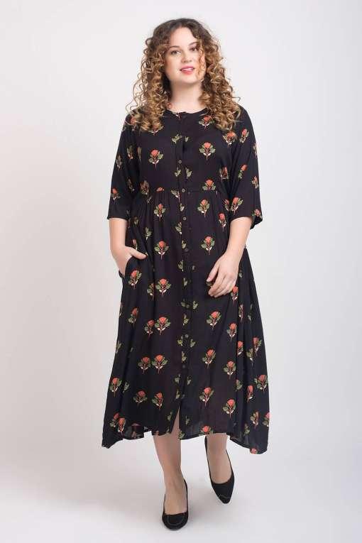 Black Pleated Long Shirt Dress2
