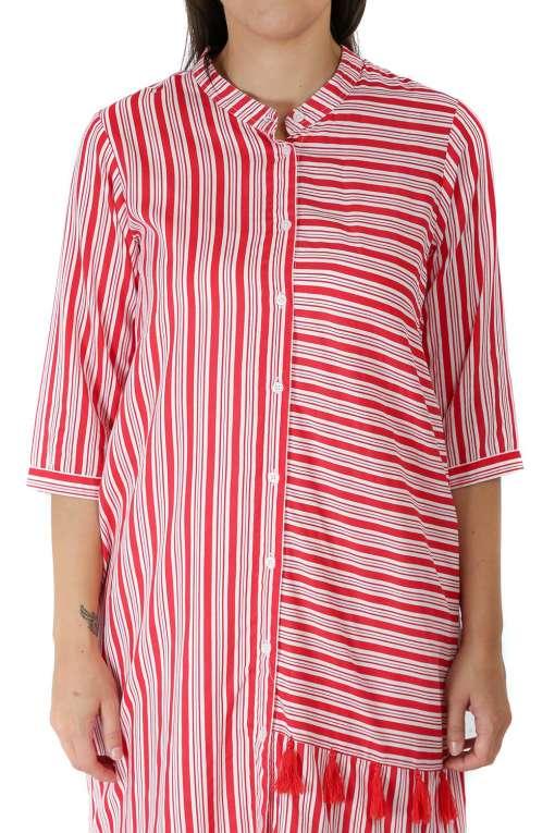 Red-White High Low Shirt Kurti1