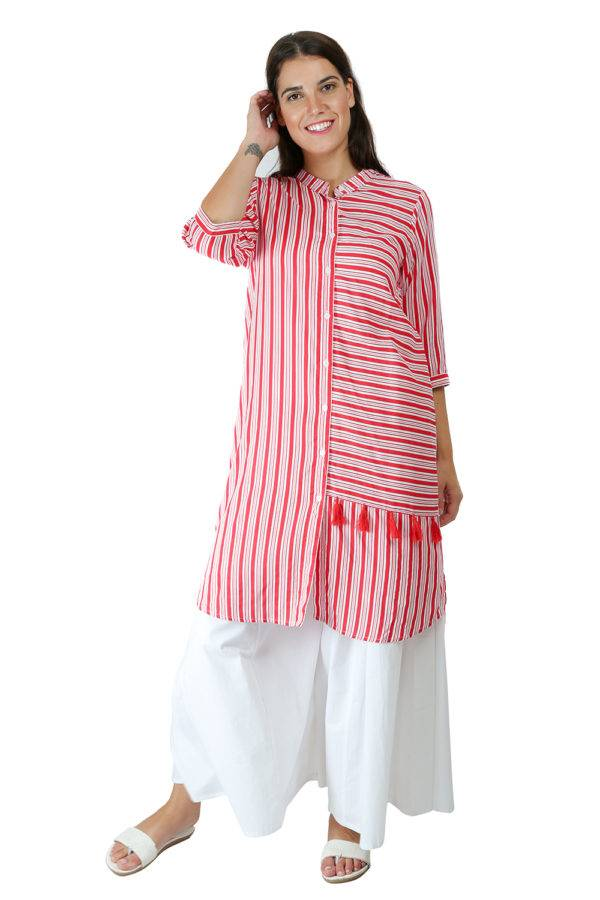 Red-White High Low Shirt Kurti2