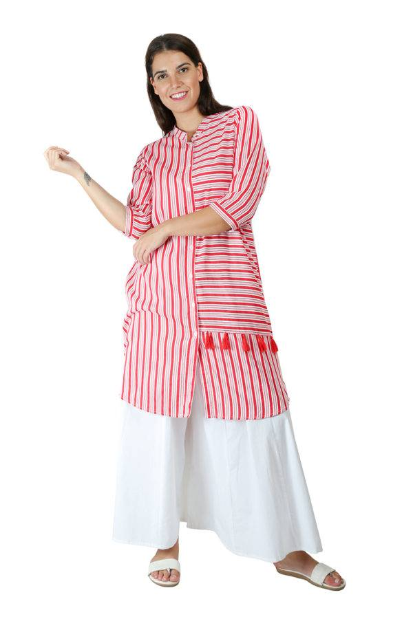 Red-White High Low Shirt Kurti3
