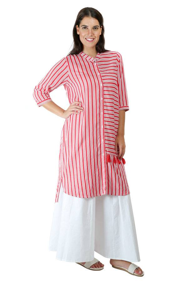 Red-White High Low Shirt Kurti5