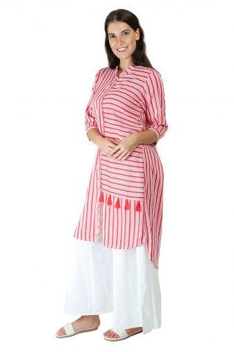 Red-White High Low Shirt Kurti6