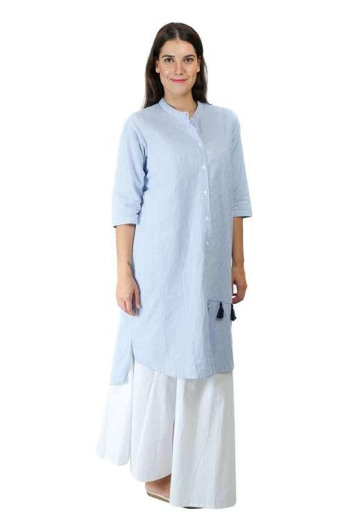 blue-white stripes kurti5