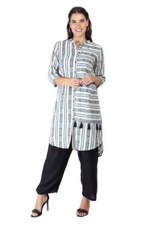 Monochrome high low kurti3