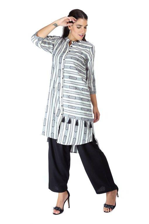 Monochrome high low kurti4