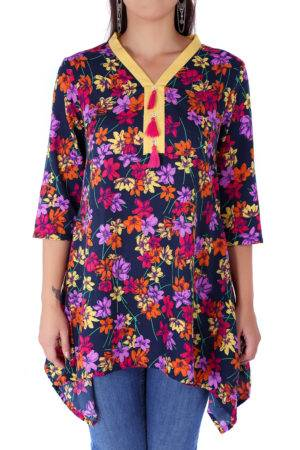 multi color floral short kurti2