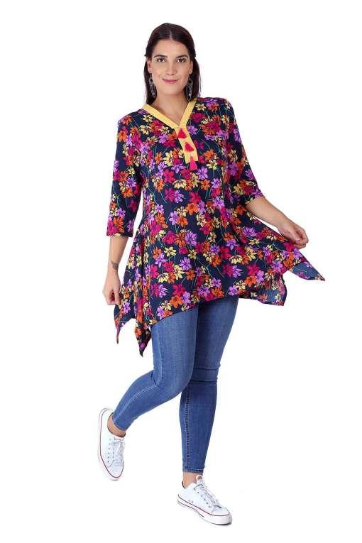 multi color floral short kurti3