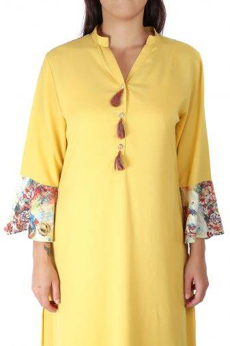 Yellow Bell Sleeve Kurti1