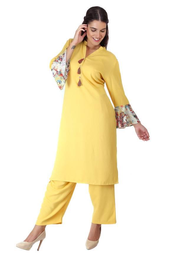 Yellow Bell Sleeve Kurti2