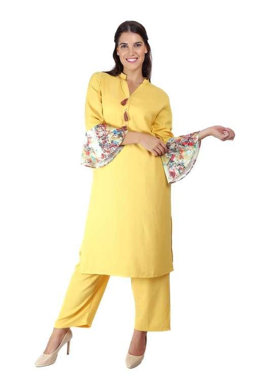 Yellow Bell Sleeve Kurti4