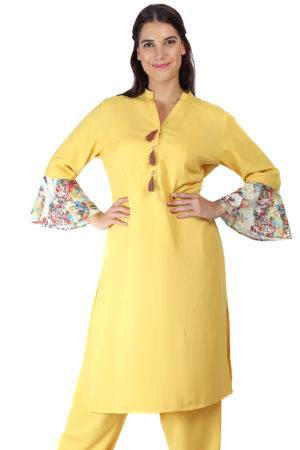 Yellow Bell Sleeve Kurti8