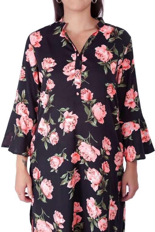 Bell Sleeve Floral Kurti With Mandarin Neck1