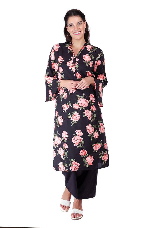 Bell Sleeve Floral Kurti With Mandarin Neck4