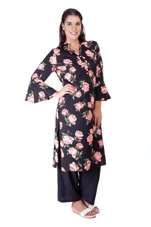 Bell Sleeve Floral Kurti With Mandarin Neck6