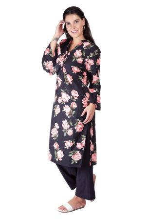 Bell Sleeve Floral Kurti With Mandarin Neck7