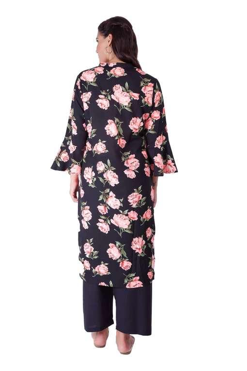Bell Sleeve Floral Kurti With Mandarin Neck8