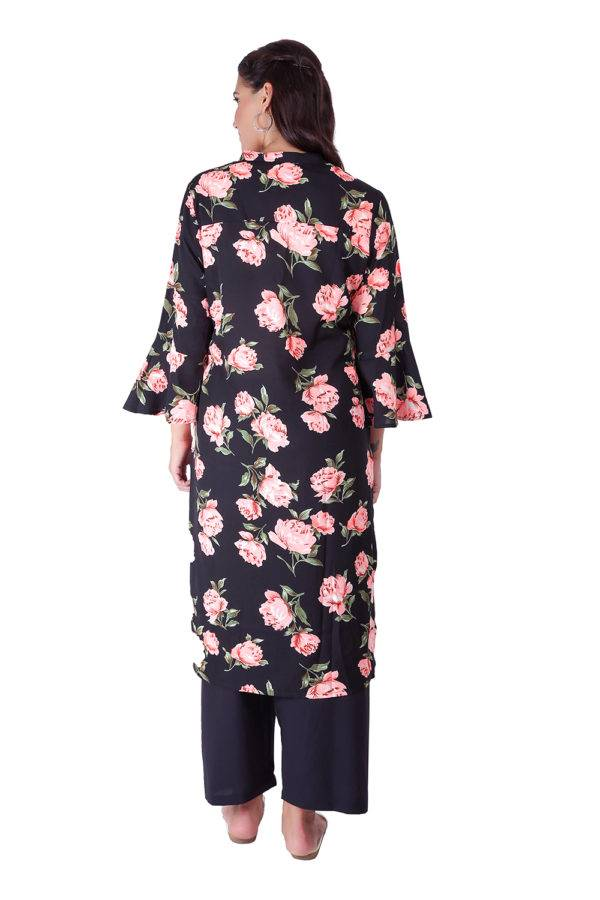 Bell Sleeve Floral Kurti With Mandarin Neck8