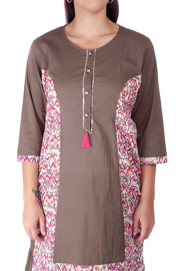 Princes Line Olive Multi Panel Kurti1