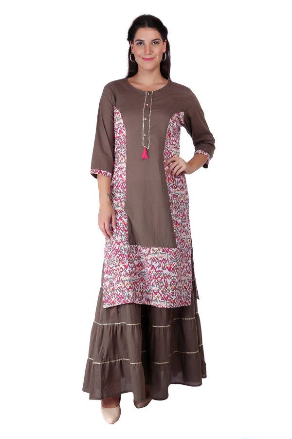 Princes Line Olive Multi Panel Kurti2