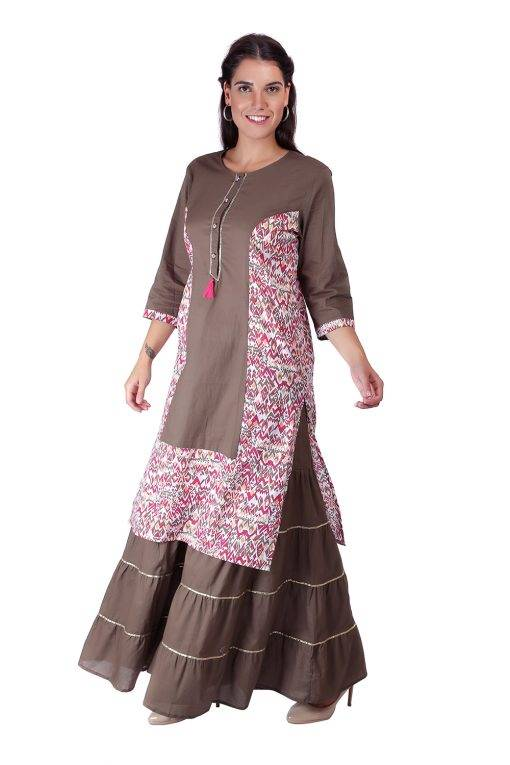 Princes Line Olive Multi Panel Kurti4
