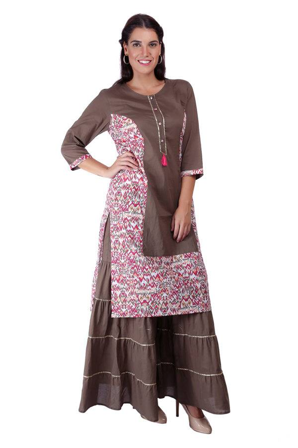 Princes Line Olive Multi Panel Kurti5
