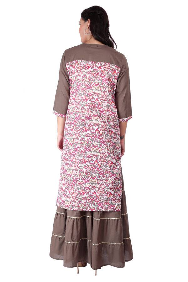 Princes Line Olive Multi Panel Kurti7