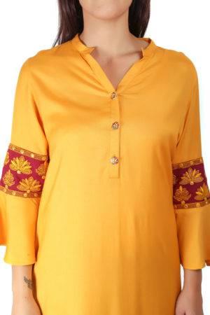 yellow-maroon kurti1